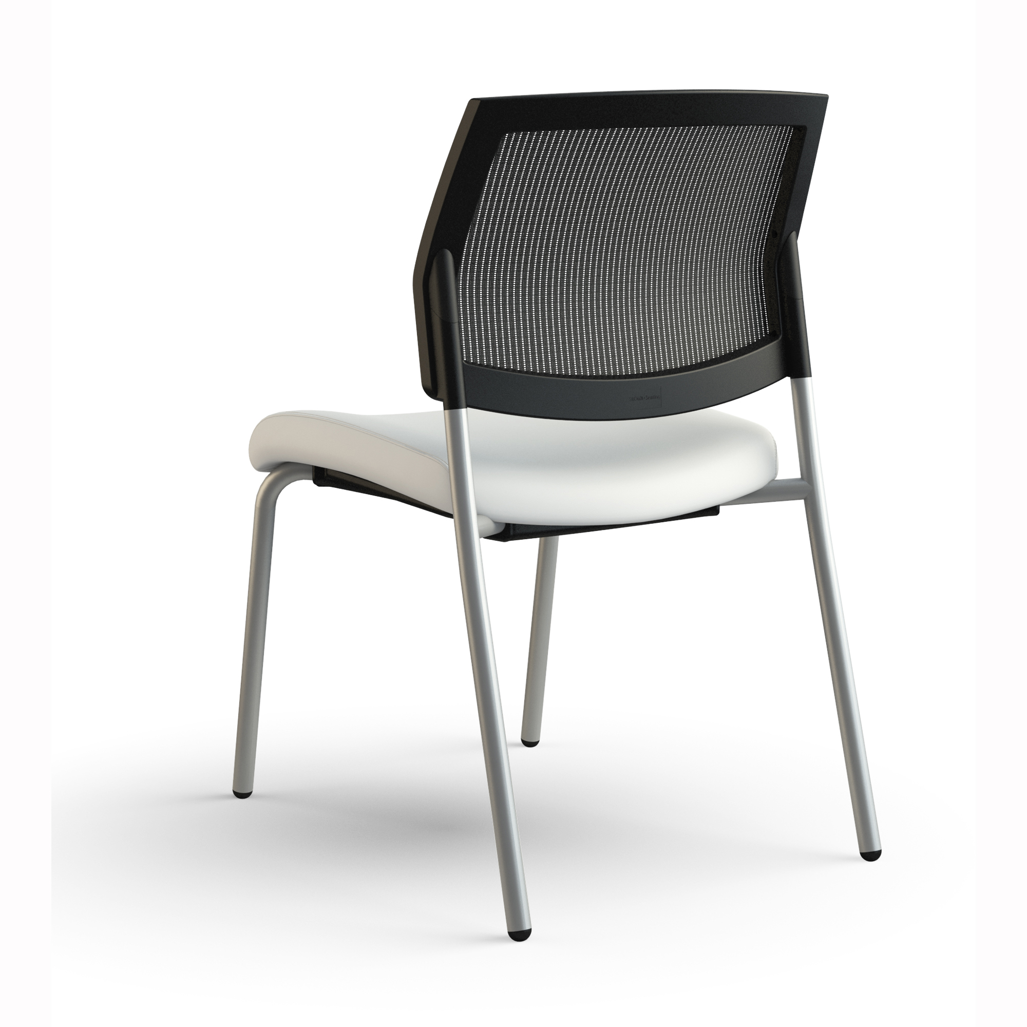 Armless Side Chair With Mesh Back And Upholstered Seat